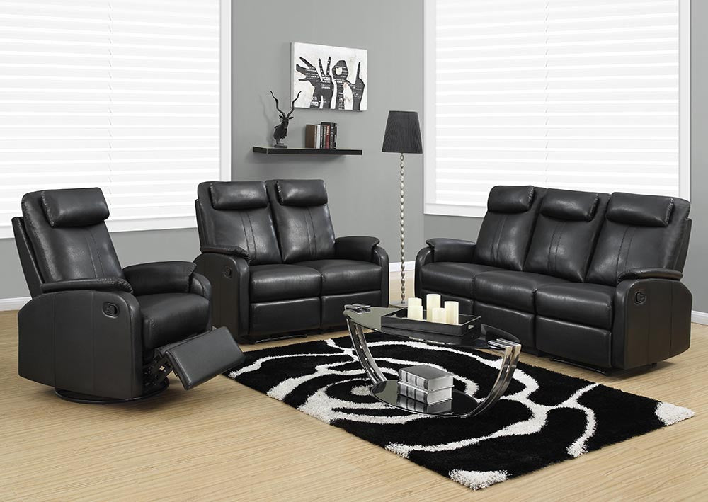 RECLINING - LEFT FACING BLACK BONDED LEATHER