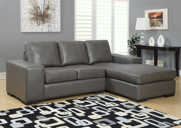 I 8200GY-SOFA LOUNGER - CHARCOAL GREY BONDED LEATHER