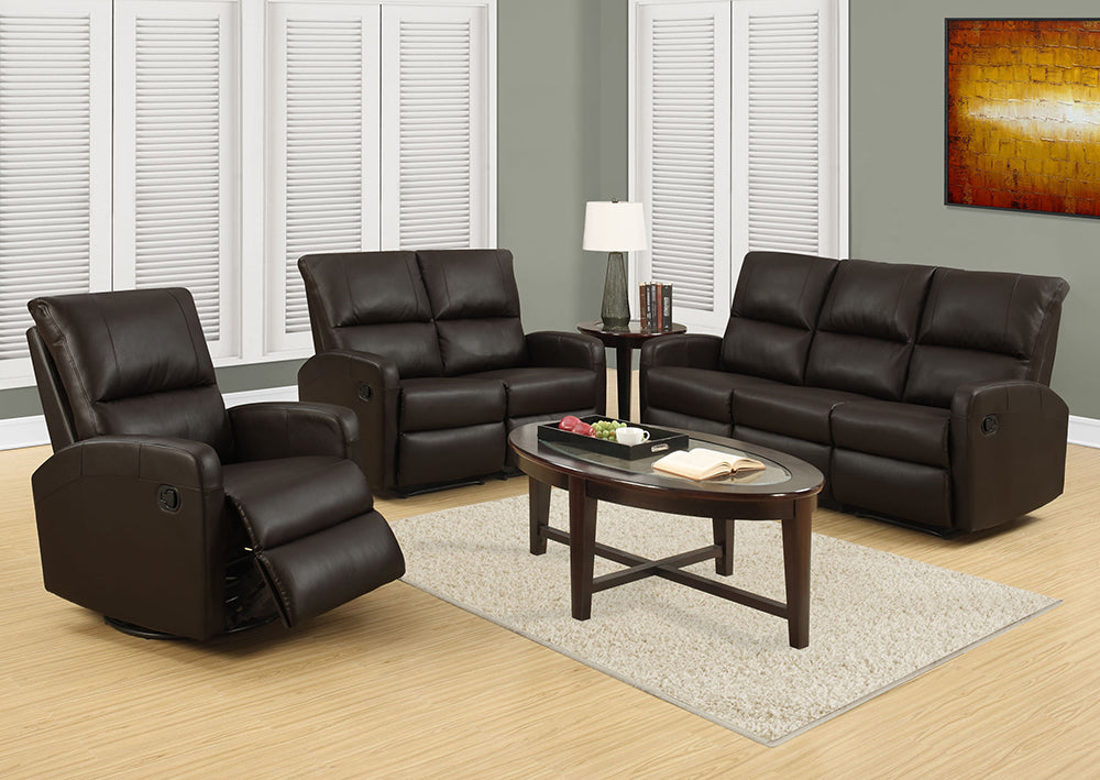 RECLINING - ARMLESS DARK BROWN BONDED LEATHER