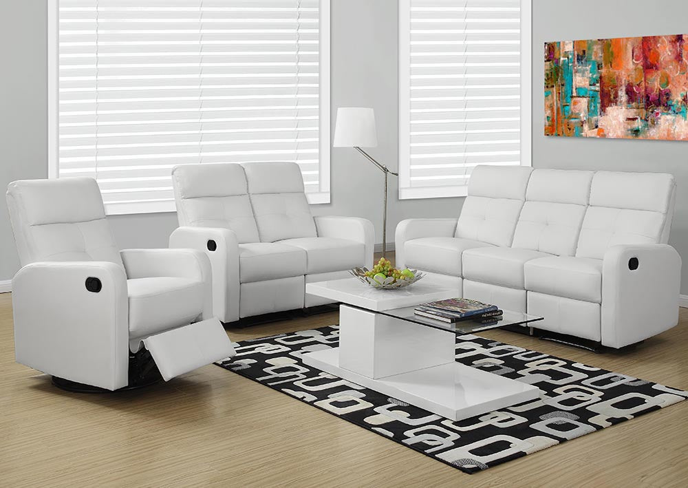 RECLINING - ARMLESS WHITE BONDED LEATHER
