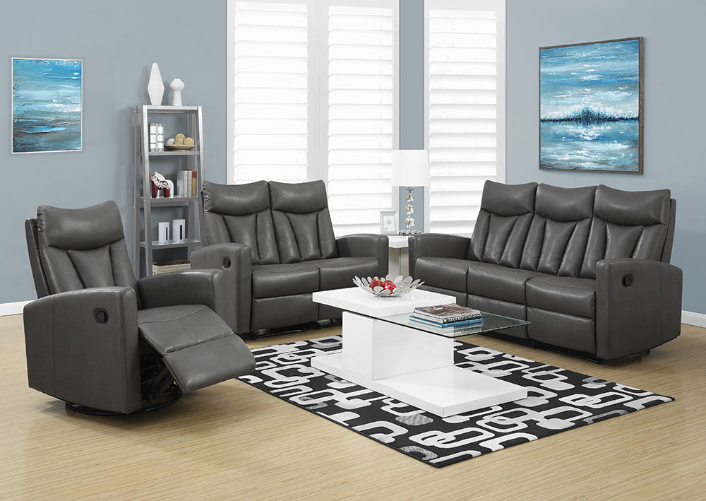 RECLINING - ARMLESS CHARCOAL GREY BONDED LEATHER