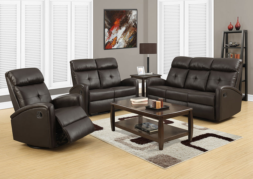 RECLINING - LEFT FACING DARK BROWN BONDED LEATHER
