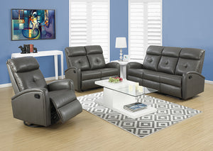 RECLINING - RIGHT FACING CHARCOAL GREY BONDED LEATHER