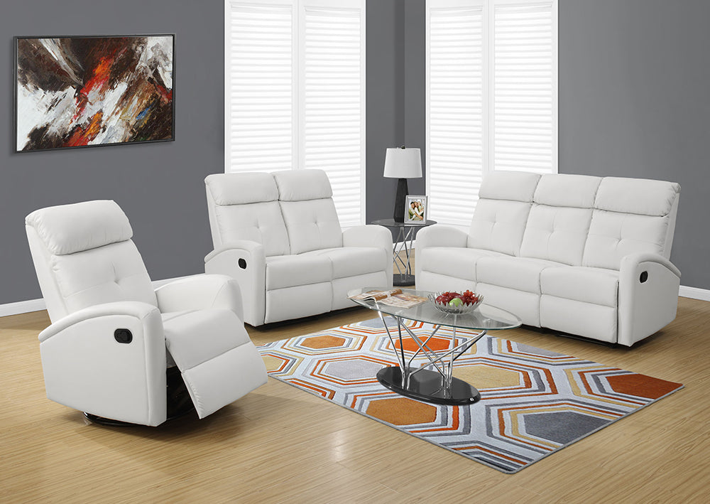 RECLINING - LEFT FACING WHITE BONDED LEATHER