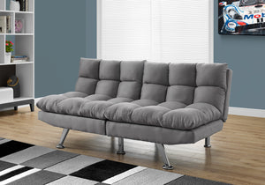I 8988 - FUTON - SPLIT BACK CONVERTIBLE SOFA / GREY MICRO-SUEDE