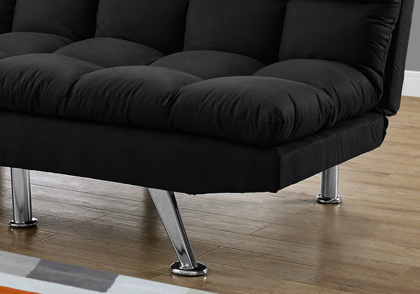 I 8990 - FUTON - SPLIT BACK CONVERTIBLE SOFA / BLACK MICRO-SUEDE