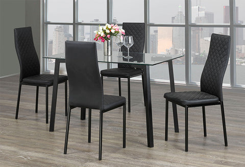 T 5058 / C 5059 – 5Pc Dining Set – Black