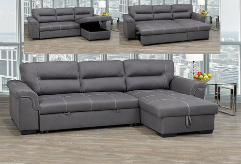 T 1217 - Sectional Sofa Bed - Grey