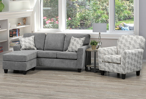 T 1236 - Sectional Sofa - Grey Velvet