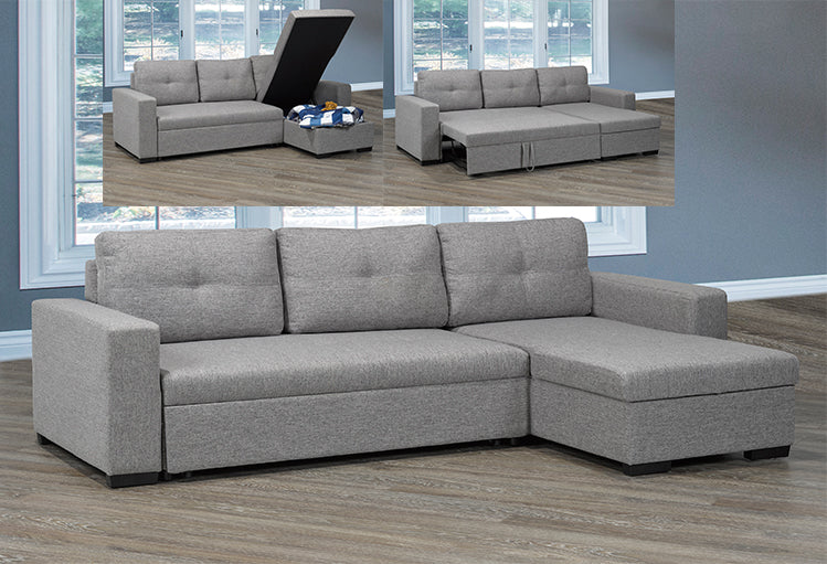 T 1245 - Sectional Sofa Bed - Grey Linen