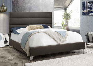 IF 5236 - Grey PU Bed - Queen / Grand Lit