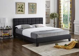 IF 5420 - Black PU Bed - Queen / Grand Lit