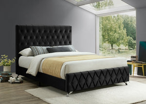 IF 5671 - Black Velvet Bed with Diamond Pattern - Queen / Grand Lit