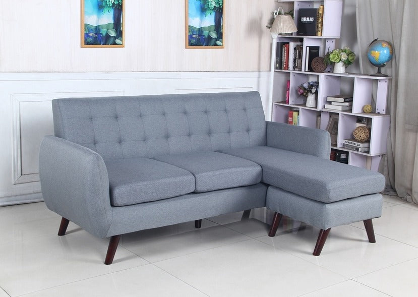 IF 8210 - Grey Fabric Sofa Sectional - Canapé Sectionnel Gris