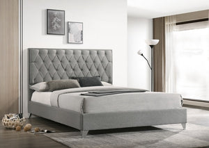 IF 5225 - Grey Fabric Bed With Diamond Pattern - Queen / Grand Lit