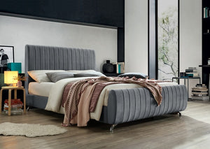 IF 5675 - Grey Velvet Bed with Chrome Legs - Queen / Grand Lit