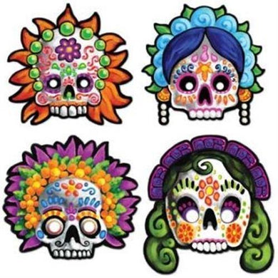 4 Pack Day of the Dead Mask Cut Out - 30cm - The Base Warehouse