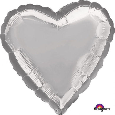 Metallic Silver Heart Foil Balloon - 45cm - The Base Warehouse