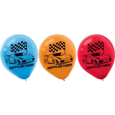 6 Pack Racecar Latex Balloons - 30cm - The Base Warehouse