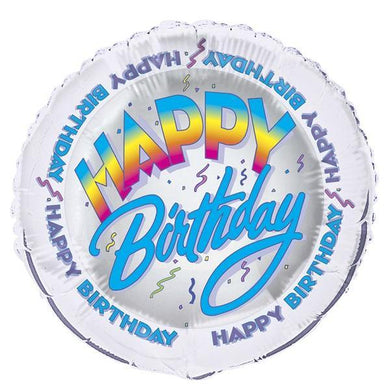 Happy Birthday Frizzy Round Foil Balloon - 45cm - The Base Warehouse