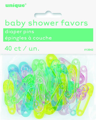 40 Pack Assorted Colours Baby Diaper Pins - The Base Warehouse