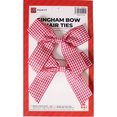 2 Pack Red Gingham Bow Hair Tie - The Base Warehouse