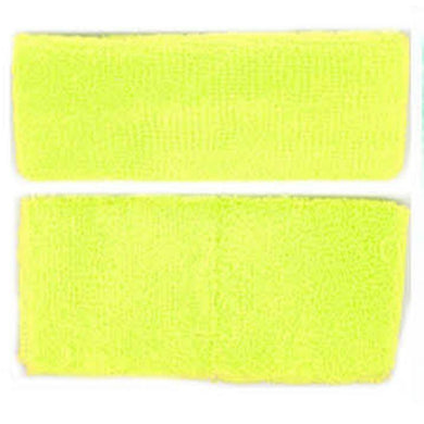 Fluro Yellow Headband & Wristband Set - The Base Warehouse