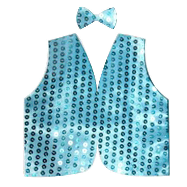 Light Blue Sequin Bow Tie & Vest Set