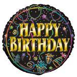 Happy Birthday Brilliance Round Foil Balloon - 45cm - The Base Warehouse