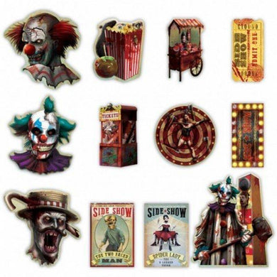 12 Pack Creepy Carnival Side Show Cardboard Cutouts - 17cm to 28cm - The Base Warehouse