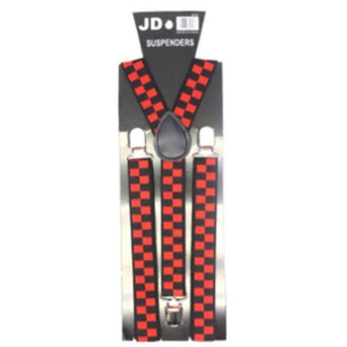 Red Checkered Pattern Suspender - The Base Warehouse