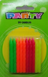 20 Pack Assorted Colours Neon Spiral Candles