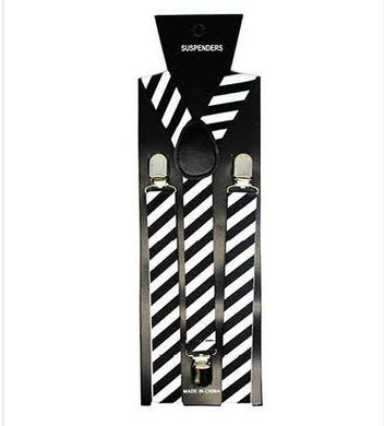 Black & White Diagonal Stripe Suspenders - The Base Warehouse