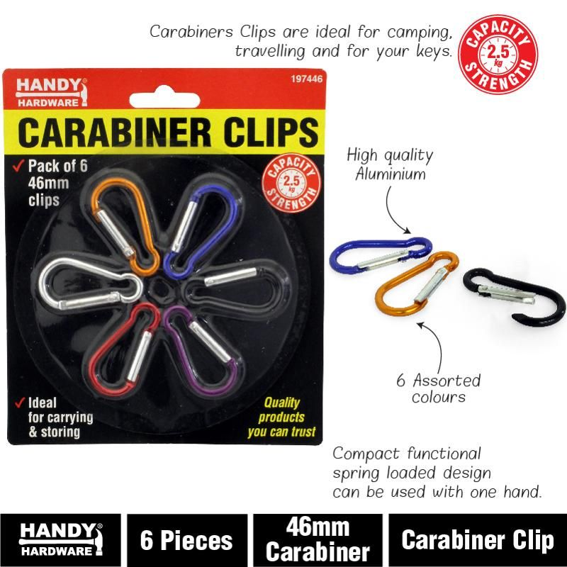 6 Pack Carabiner Clips - 46mm