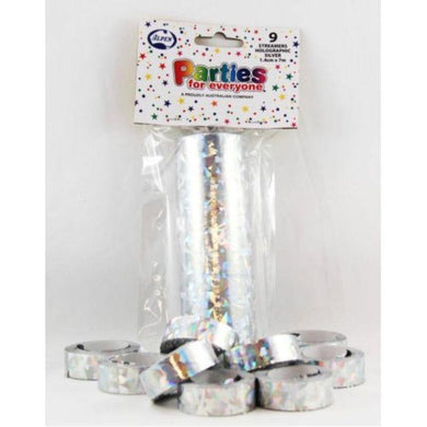9 Pack Silver Holographic Streamers - 7m - The Base Warehouse