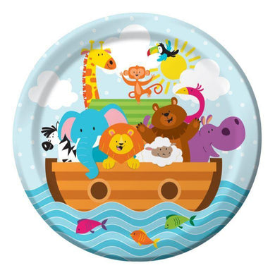 8 Pack Baby Shower Noahs Ark Luncheon Paper Plates - 18cm - The Base Warehouse