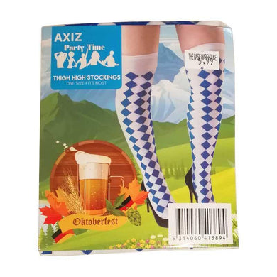 Oktoberfest Blue & White Thigh High Stockings - The Base Warehouse