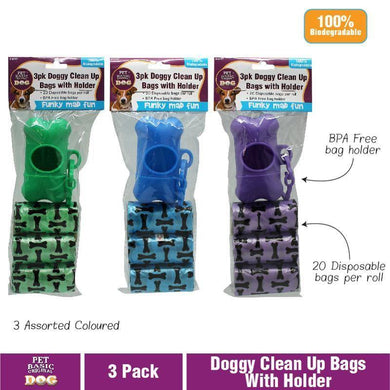 3 Pack Dog Clean Up Bags with Holder - The Base Warehouse