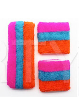 Fluro Stripe Headband & Wristband Set - Orange, Blue, Pink - The Base Warehouse