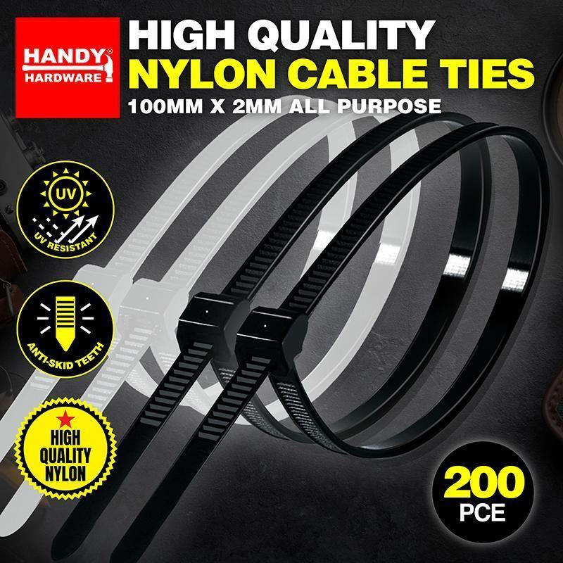 200 Pack Nylon Cable Ties - 100mm x 2mm
