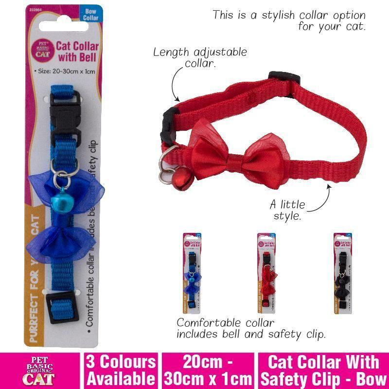 Bow Cat Collar with Safety Clip - 20cm x 30cm x 1cm