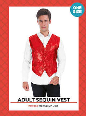 Mens Red Sequin Vest - The Base Warehouse