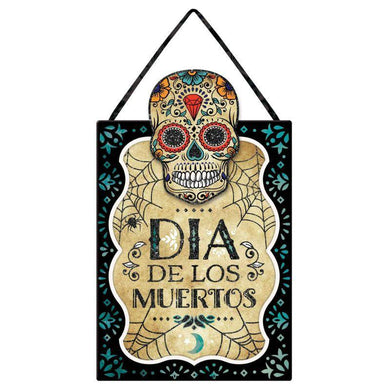 Sugar Skull Hanging Sign with Easel Back - 26cm x 42cm - The Base Warehouse