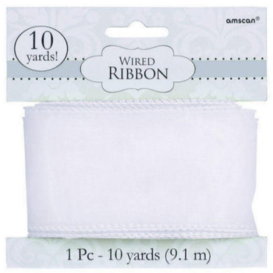 White Wired Ribbon - 9.1m - The Base Warehouse