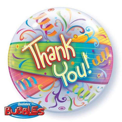 Thank You Streamers Bubble Balloon - 55cm - The Base Warehouse