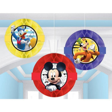 3 Pack Mickey on the Go Honeycomb Decorations - 23cm - The Base Warehouse