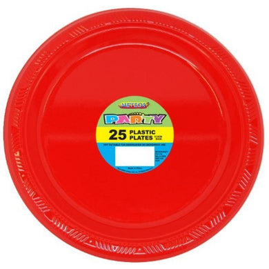 25 Pack Ruby Red Plastic Plates - 18cm - The Base Warehouse