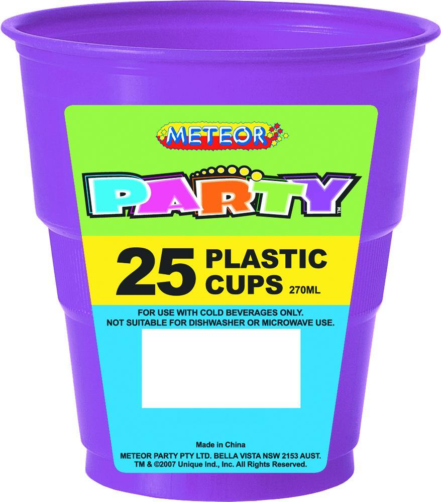 25 Pack Pretty Purple Plastic Cups - 270ml