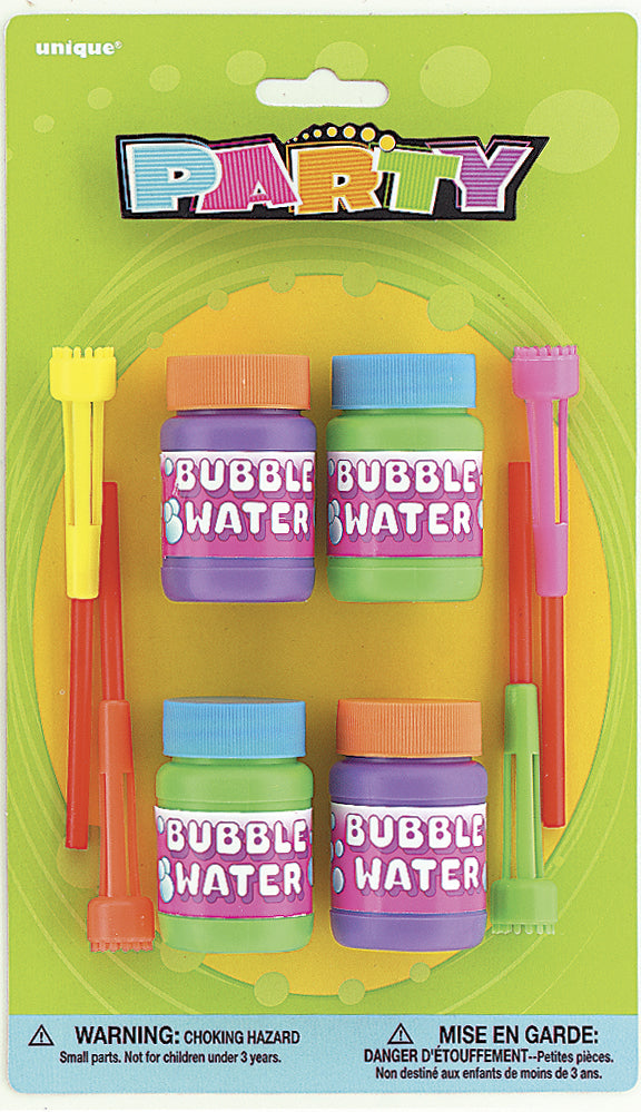 4 Pack Assorted Colours Bubble & Wand Bottles