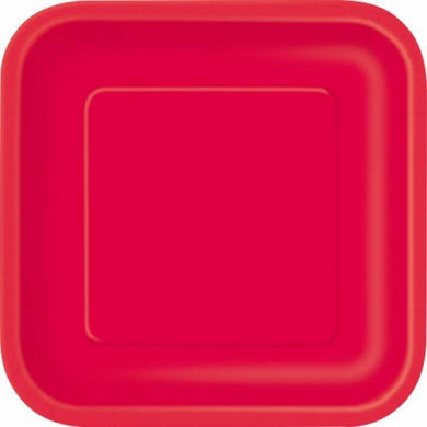16 Pack Ruby Red Square Paper Plates - 18cm - The Base Warehouse